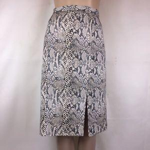 Doncaster Snakeskin Print Silk Midi Skirt